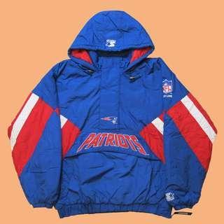 JCI:Vintage Starter NFL 新英格蘭 愛國者隊 半拉連帽套頭風衣 / 古著 / 90s / 嘻哈