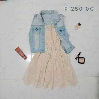 Denim Cardigan and Lace Dress