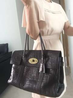 1e5fdef7c5 Mulberry Bayswater Croc Embossed Bag