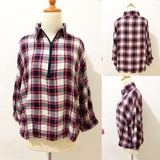 Checked red blouse