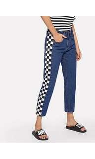 Denim checkered pants