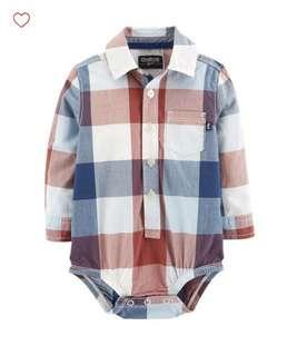 🚚 BN Oshkosh Bgosh Baby Boy Red Blue Plaid Long Sleeves Romper 12-18mths avail!