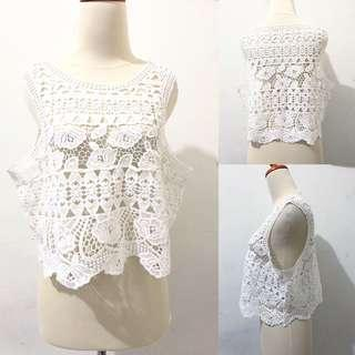 Guipure white top