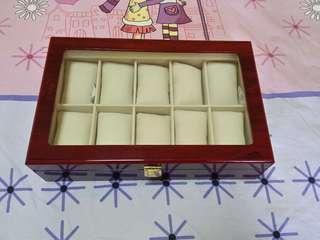 10 Slots Wooden Watch Storage Box