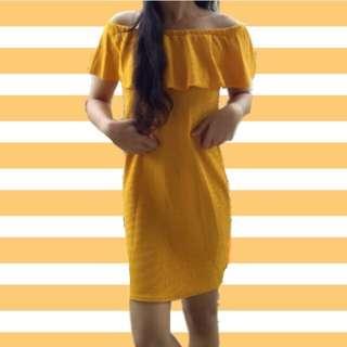 3 way Mustard off shoulder dress