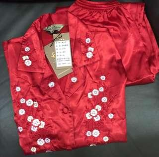 《100%蠶絲》錦絲坊真絲紅色長袖睡衣 (適合上頭用)