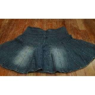 Dark Blue Stone Wash Flair Mini Skirt