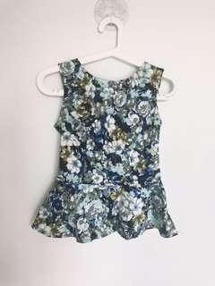 Glassons Blue Floral Peplum Top