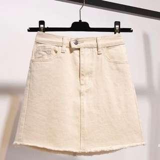Cream Beige Denim Skirt #single11