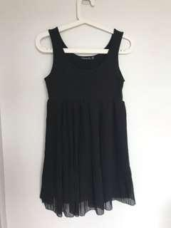 Living Doll Babydoll Black Dress with Pleated Skirt