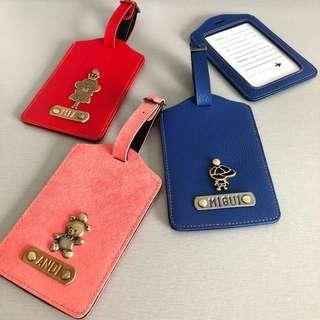 CHRISTMAS GIFT Travel Luggage Tags Bag Safe Accessories School Customised Personalised Card Case Leather
