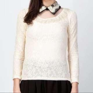 🆕Collared Lace Top