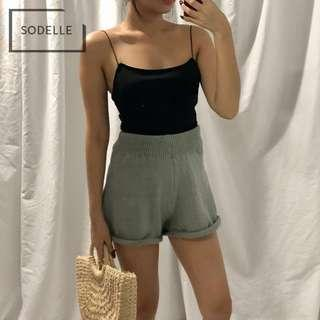 INSTOCKS Knit basic highwaist shorts (GREY)