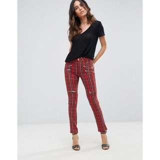Instock! - BNIP Missguided Inspired Red x Black Checkered Gingham Plaid Checkerboard Tapered Skinny Zipper Pants