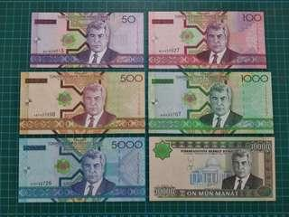 Turkmenistan 6pc set 50-10000 Manat UNC