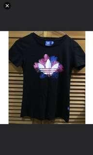Adidas tee T-shirt floral pattern black 黑色 logo 花