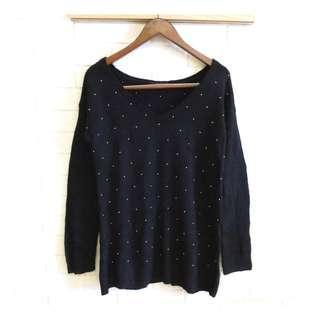 日本品牌 moussy 時尚立體串珠針織衫 M