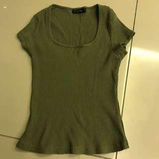 Nichii Olive Green Ribbed Top