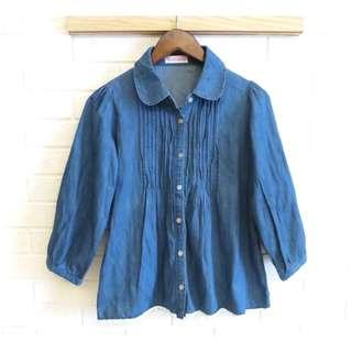 日本品牌 Sorridere 甜美蕾絲牛仔襯衫 M