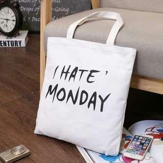 (包郵)全新 I Hate Monday 帆布袋