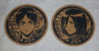 [Attack on Titan/ Shingeki no Kyojin] Eren & Mikasa Cork Coasters
