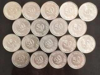 💥Complete Set of 1967 To 1984 50c Lion Fish Coins/Single year Coins in Very Fine/AUNC Conditions⭐️