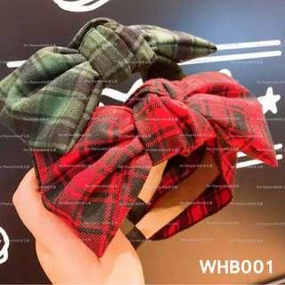🚚 【Her Majesty的秘密花園】韓國復古學院風寬版格紋蝴蝶結髮圈髮箍髮飾WHB001