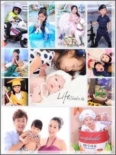 親子家庭攝影+自選2款兒童造型 (43 image files $680) / 專業影樓面試相 學生相 $300