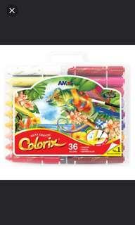 太子店 AMOS 36色神奇粗蠟筆加粉彩加水彩筆 韓國無毒顏色筆
