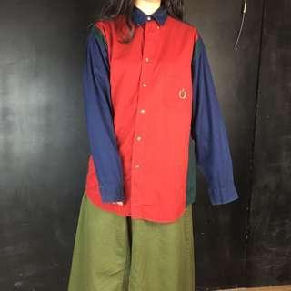 🚚 古著紅藍綠拼色襯衫