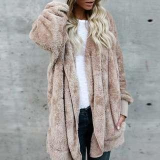 🚚 全新 毛毛保暖棉衣外套 size:L