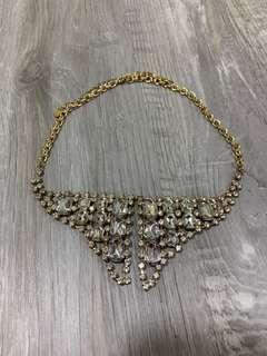 Shiny Gold and Diamond Statement Necklace