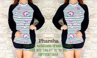 🎀 Plus Size Parsha Rashguard  💞 Price: 420  💞 Spandex Fabric  💞 Freesize/Onesize Only  💞 Fit XL to 3XL