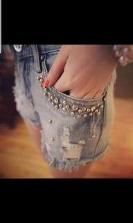 Classy denim shorts with a bling touch. Only 1 pair