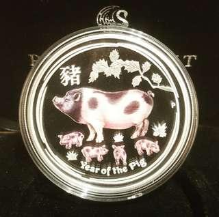 2019 Year of the Pig 1oz Silver Coloured Proof Coin