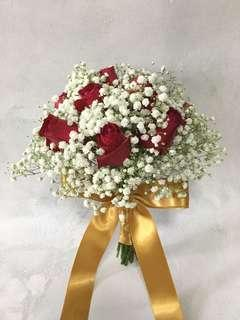 Red Rose with White Baby Breath and Gold ribbon / Bridal Bouquet / ROM flowers