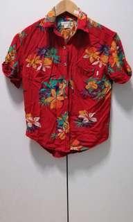 🚚 Obey Propaganda Orangey Red Hawaii Shirt - Size XXS