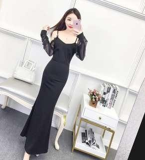 [ Premium Quality ] PO : Sizes Available In M And L. Super Classy And Feminine Korean Style Cold Shoulder Translucent Mesh Long Sleeves Bodycon/Body Hugging Maxi/Long/Prom/D&D/Ballroom/Dinner/Gown/Evening/Party Dress