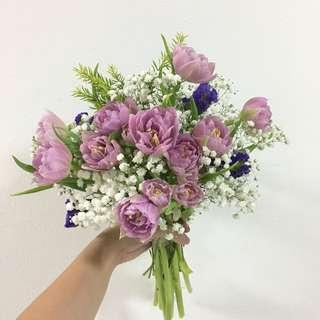 Purple Tulips / ROM Bouquet / Lilac Tulips Bridal Bouquet