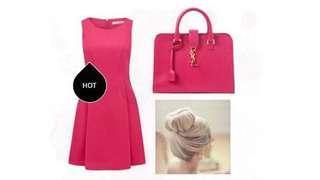 🚚 Forever New Hot Pink Skater Dress