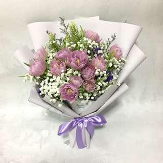 Fresh Tulips in Purple and Baby Breath / Proposal Bouquet / Romantic Anniversary