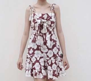 🌷(IN STOCK) Summer Tie Floral Dress Clay
