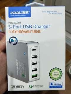 (Price Reduced) Prolink 5 Port USB Charger Intellisense Unopened New