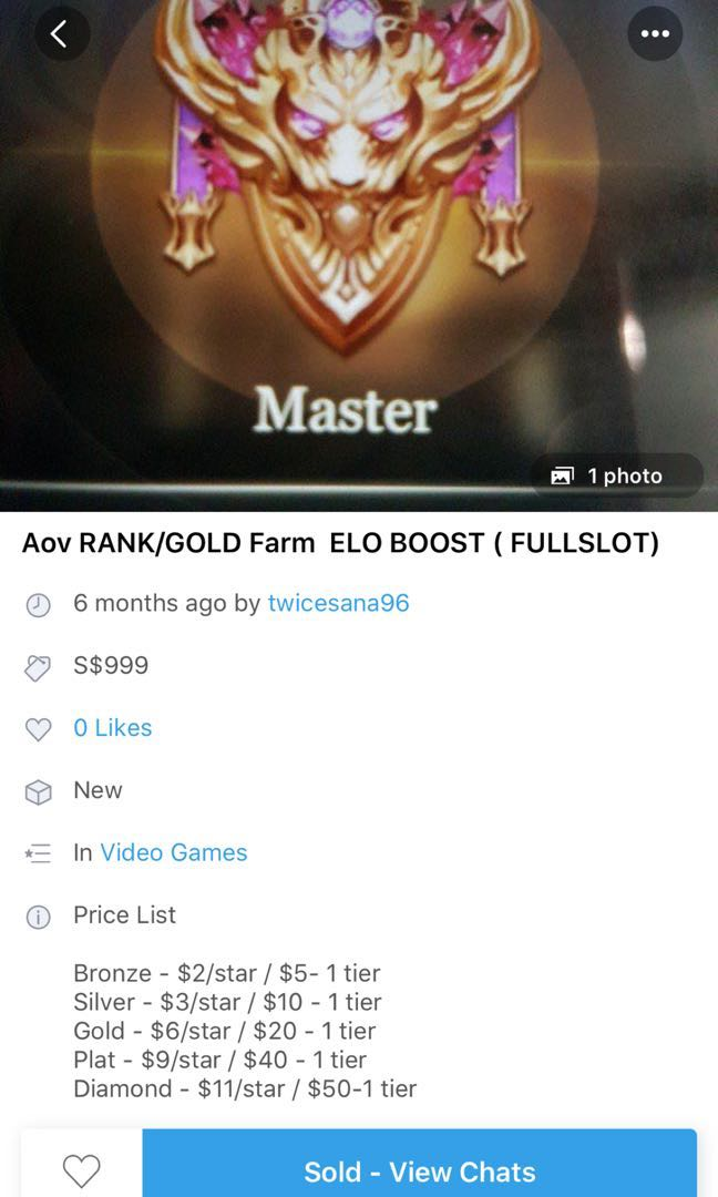 Aov elo boosting, Toys & Games, Video Gaming, Video Games on Carousell
