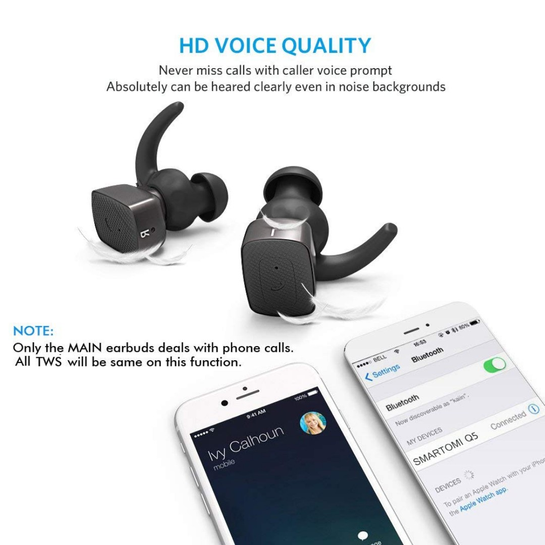 1991b92e6b4 Completely Wireless Earbuds SmartOmi Q5 True Wireless Bluetooth Earphones  Stereo Noise Cancelling Headphones with Mic Hands-free calls for  Smartphones ...