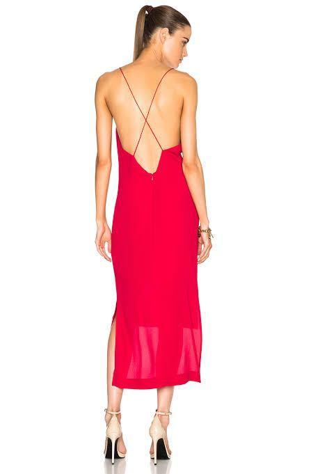 DION LEE fine line red cami dress