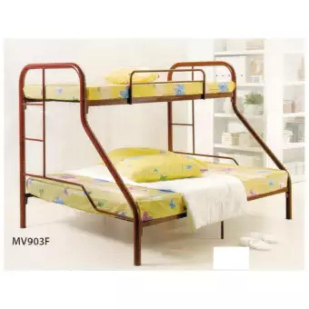 Sale Double Tier Bunk Bed Frame Queen Bottom Single Top Furniture Beds Mattresses On Carousell