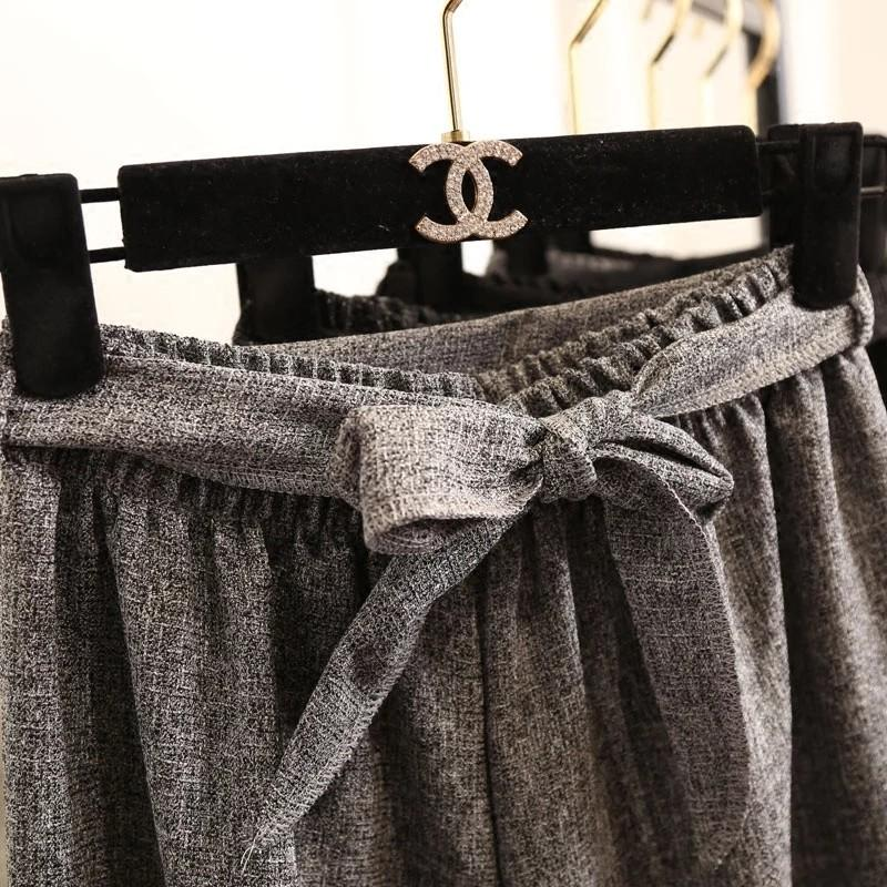 High Waist 3/4 Wide Leg Pants with Ribbon (Grey)