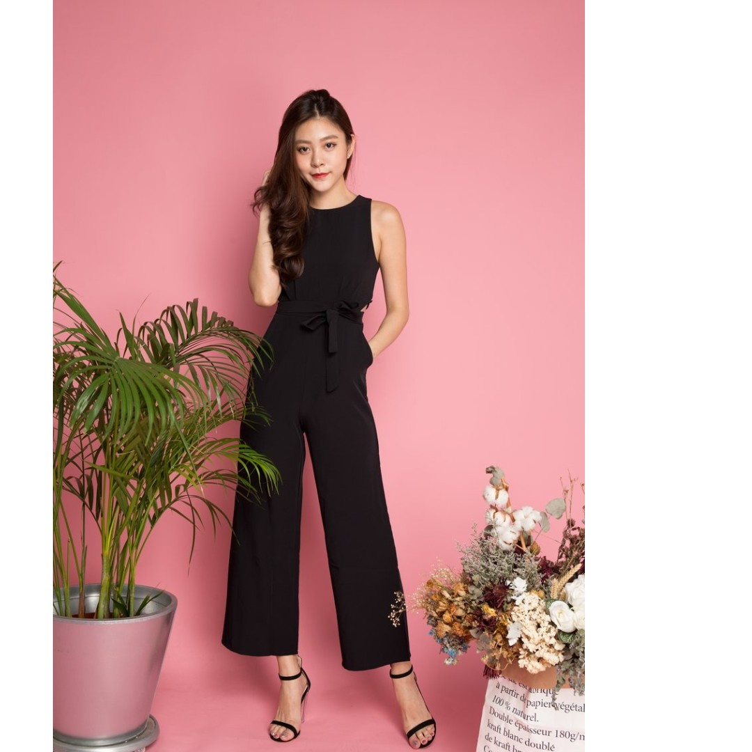 b42551373d JACQUELINE RIBBON JUMPSUIT IN BLACK - LBRLABEL