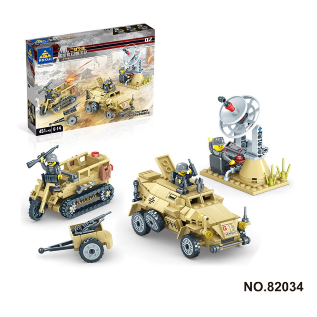 Lego-compatible WWII German military SdKfz 222 + Kettenkrad 451pcs
